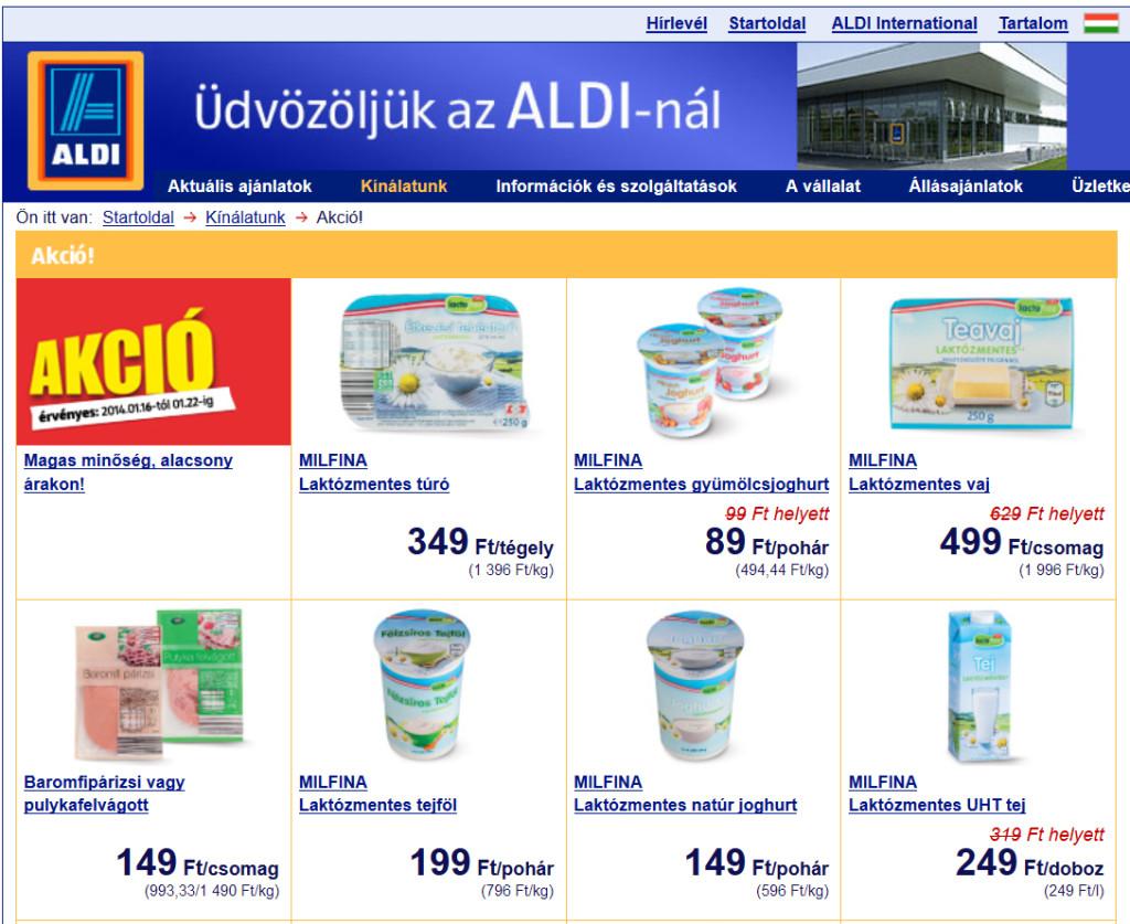Laktózmentes tejtermékek akciója az ALDI-ban