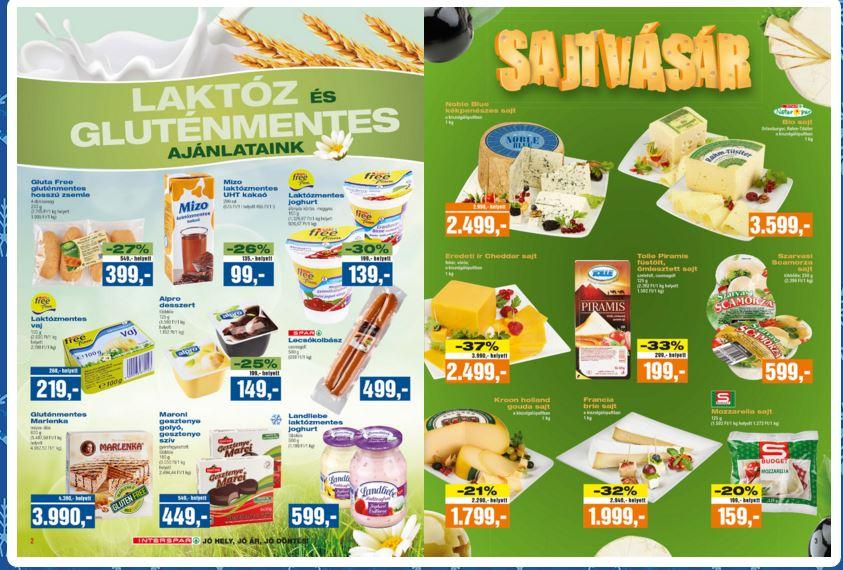 Interspar glutén és laktóz-mentes élelmiszerek akciója sajtvásár