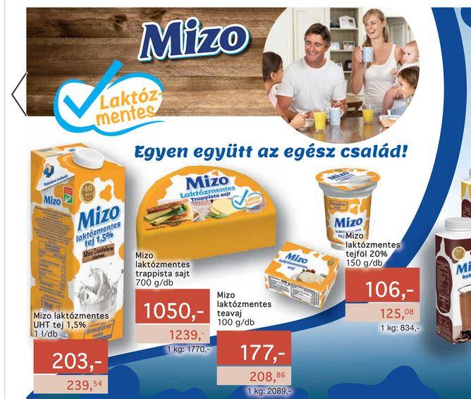 Mizo laktózmentes termékek akciója