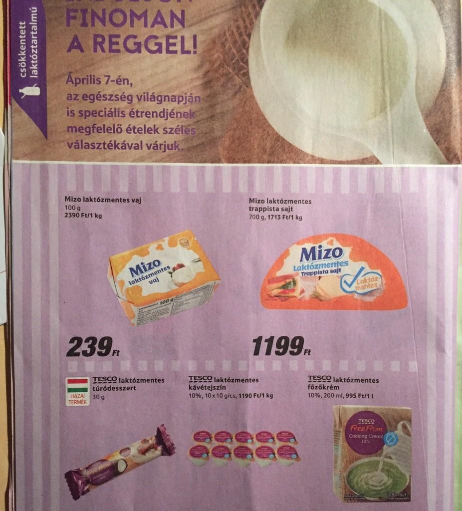 tesco akciós laktózmentes termékek 2016 április