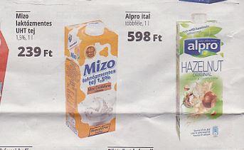 Mizo laktózmentes tej, Alpro