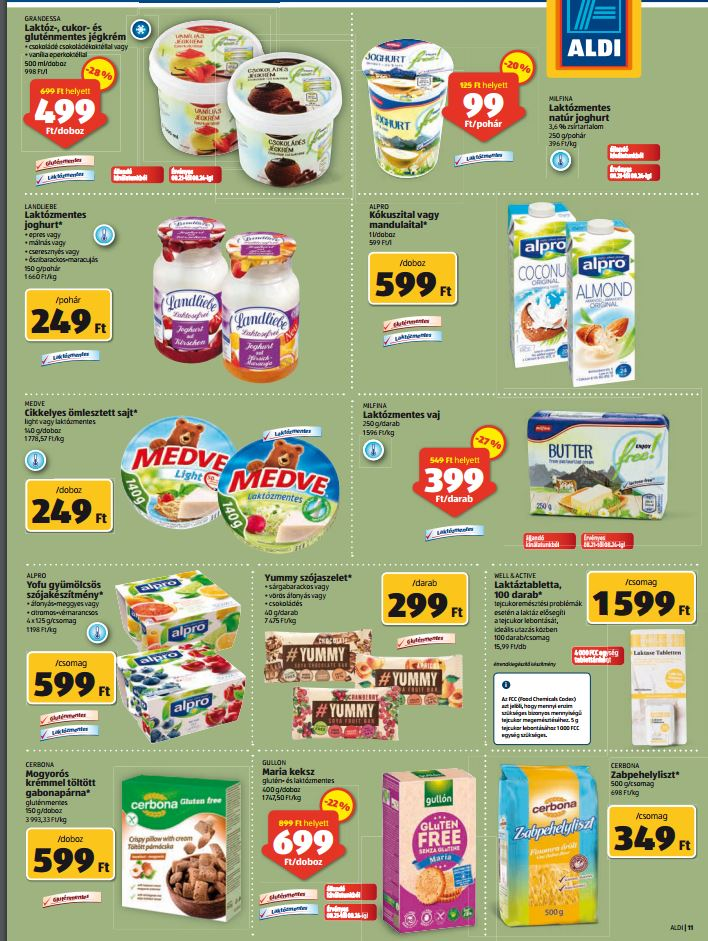 aldi laktózmentes, tejmentes élelmiszerek akciója 201608