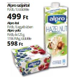 alpro növényi ital, joghurt alternatíva akció
