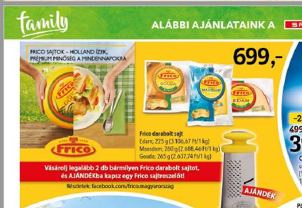 spar laktózmentes sajtok