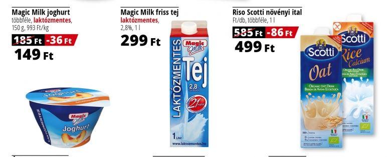 Auchan laktózmentes tejtermékek, növényi ital akció