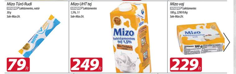 Mizo laktózmentes tejtermékek akciója